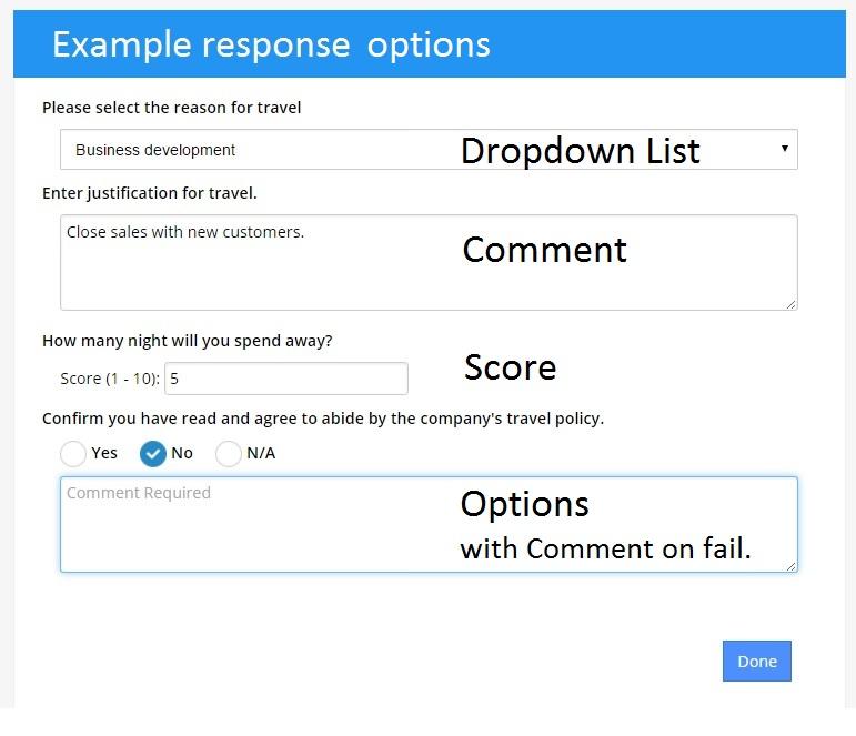 using the response templates to configure a checklist